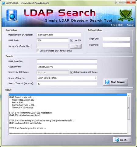 LDAP Search screenshot