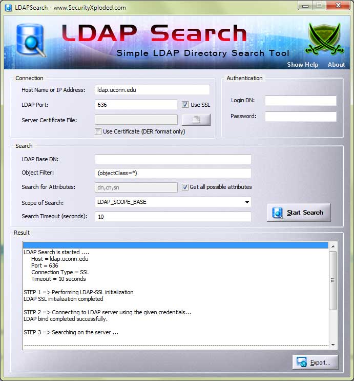 LDAP Search Screen shot