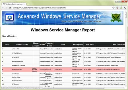AdvancedWinServiceManager export scan results