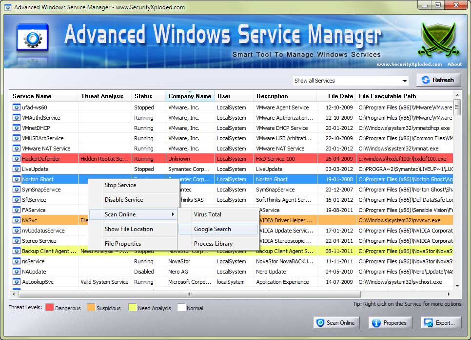 Advanced Windows Service Manager Screen shot