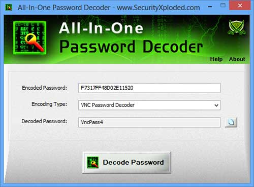 All In One Password Decoder Screen shot