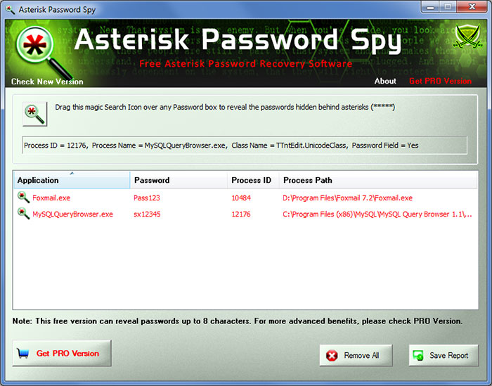 AsteriskPasswordSpy showing recovered passwords