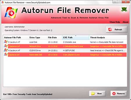 AutorunFileRemover showing recovered passwords