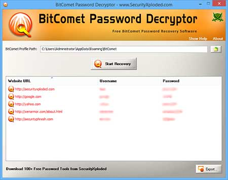 BitCometPasswordDecryptor showing recovered passwords
