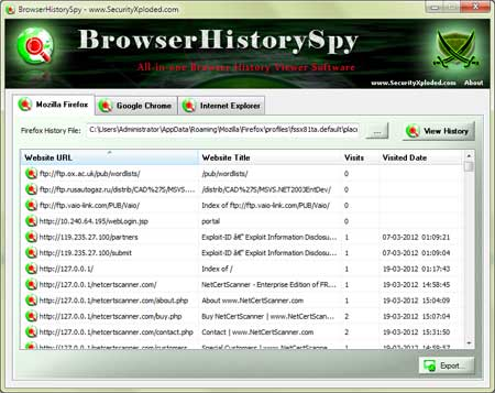 BrowserHistorySpy showing recovered passwords