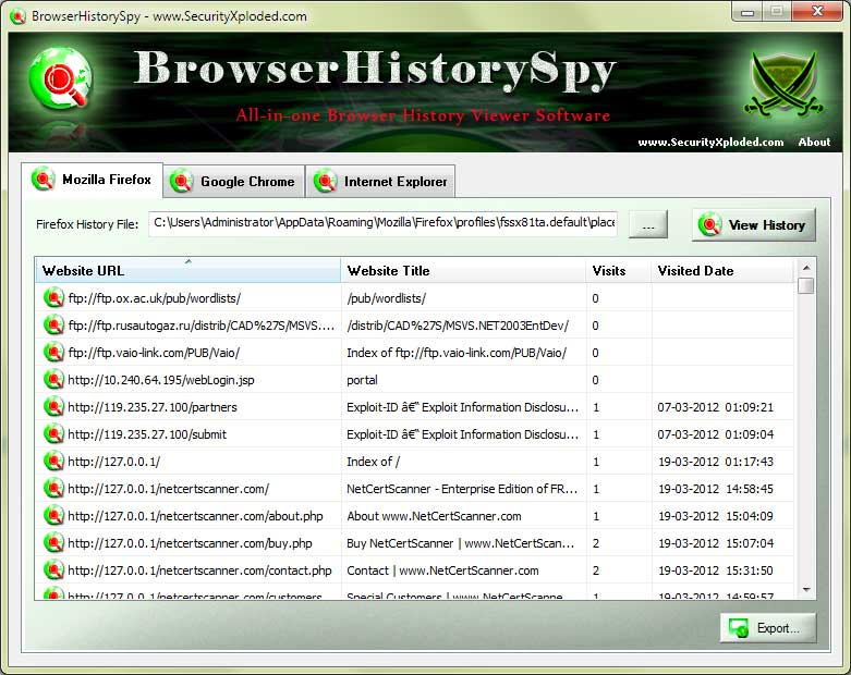 Click to view Browser History Spy screenshots