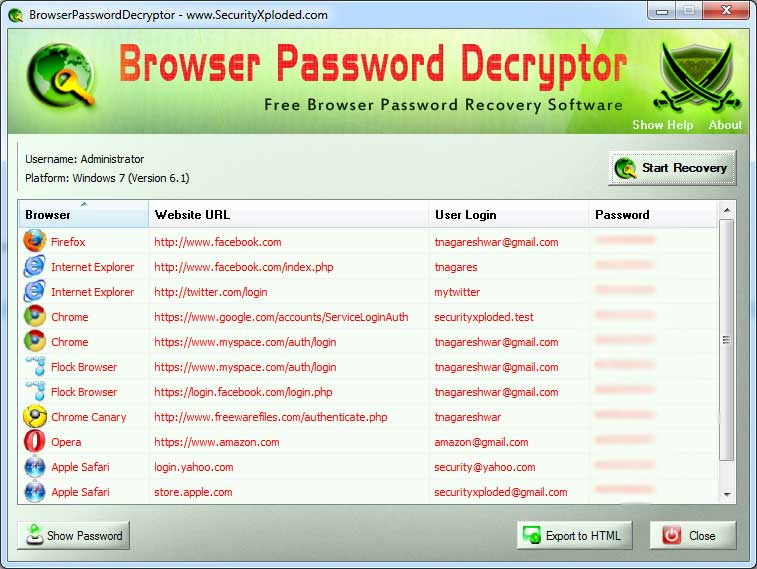 Browser Password Decryptor Screen shot