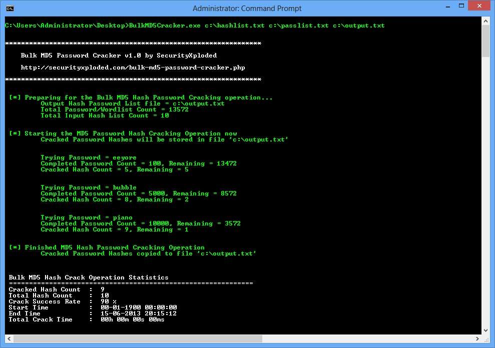 Bulk MD5 Password Cracker : Free Command-line based Mass MD5 Hash