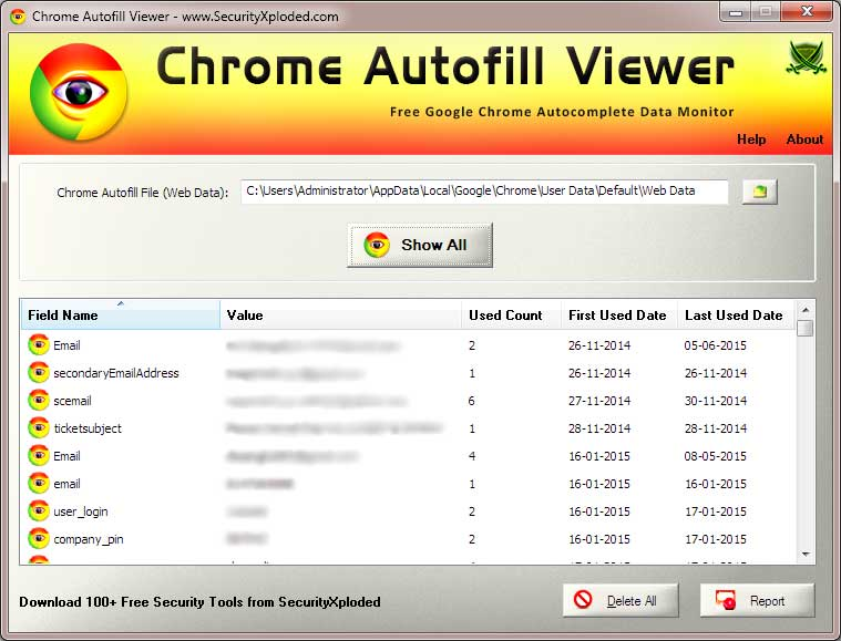 Chrome Autofill Viewer : Free Tool to View or Delete