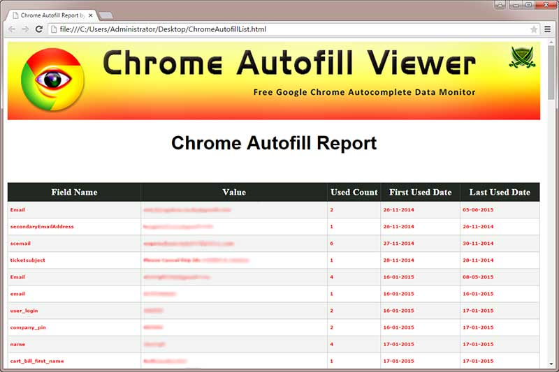 Chrome Autofill Viewer : Free Tool to View or Delete Autocomplete data from  Google Chrome browser