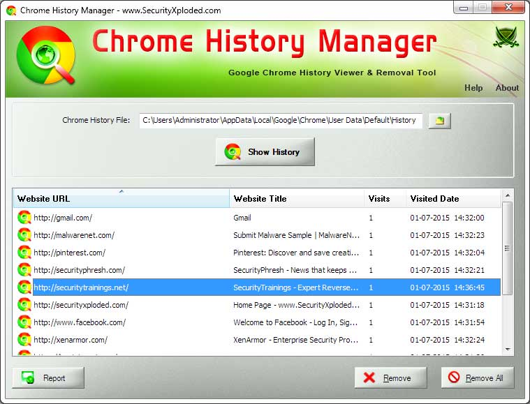 Chrome History Manager : Free Tool to View or Delete Browsing