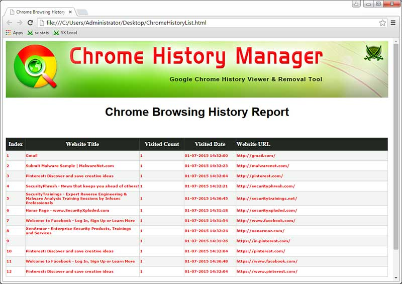 Chrome History Manager : Free Tool to View or Delete
