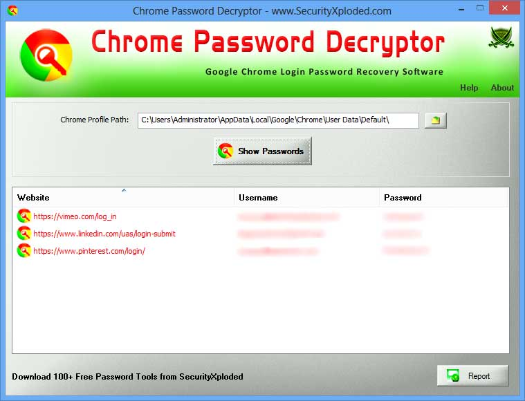 Click to view Chrome Password Decryptor Downloader 3.1 screenshot