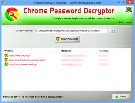 ChromePasswordDecryptor showing the Chrome Secrets