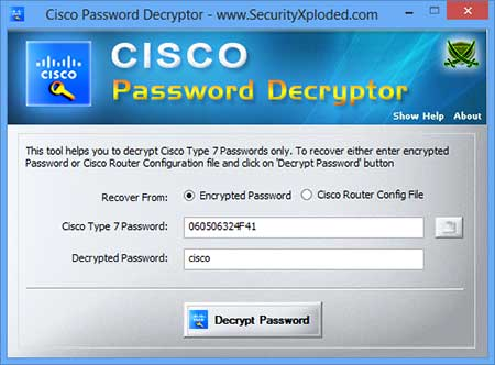 Password Decryptor for Cisco Screen shot