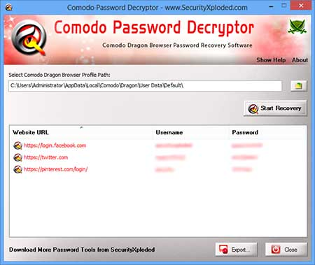 ComodoPasswordDecryptor showing the Chrome Secrets