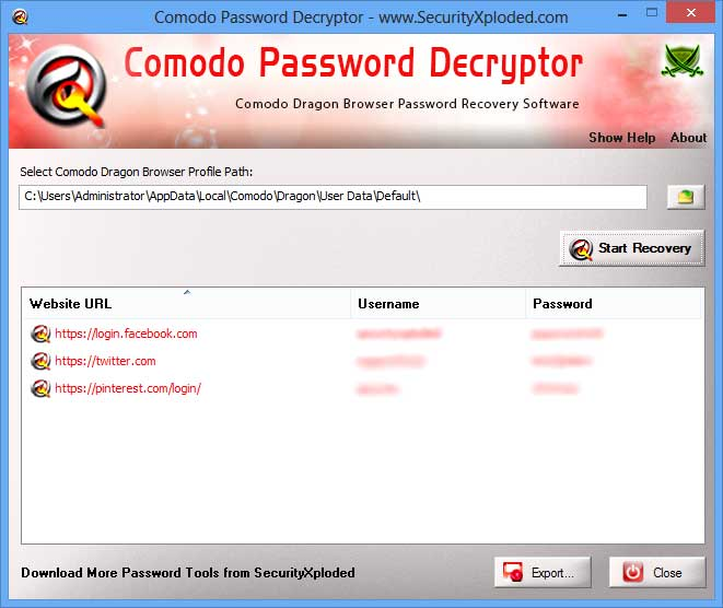 Password Decryptor for Comodo Screen shot