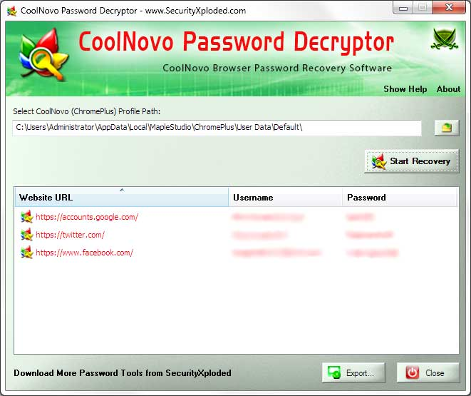 Password Decryptor for CoolNovo Screen shot
