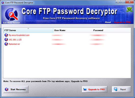 Core FTP Password Decryptor showing recovered passwords