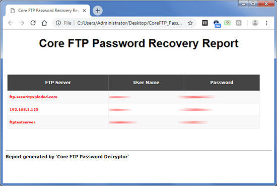 Exported FTP passwords to HTML