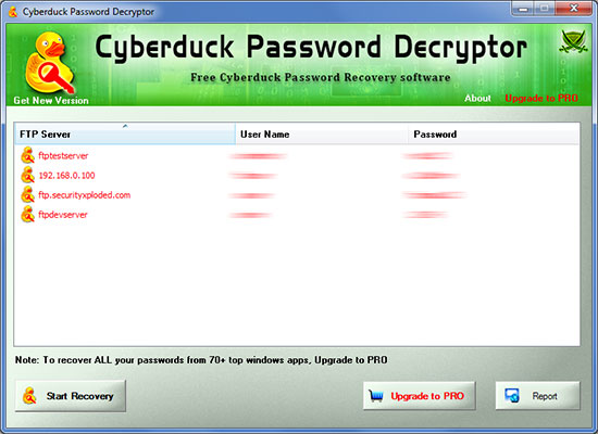 Cyberduck Password Decryptor showing recovered passwords