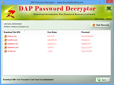 DAPPasswordDecryptor showing recovered passwords