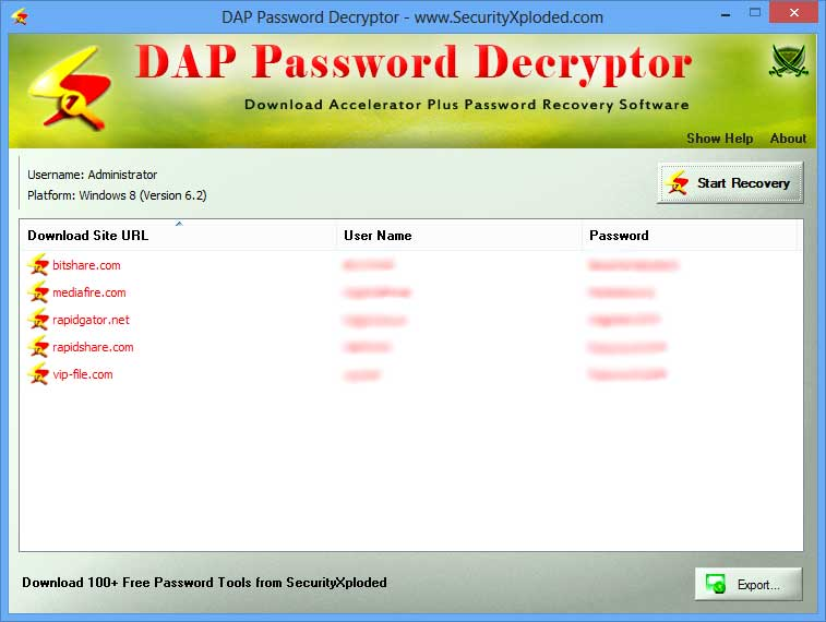 Password Decryptor for DAP Screen shot