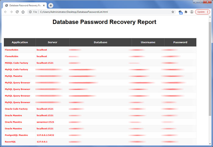 Database Password Recovery showing recovered passwords