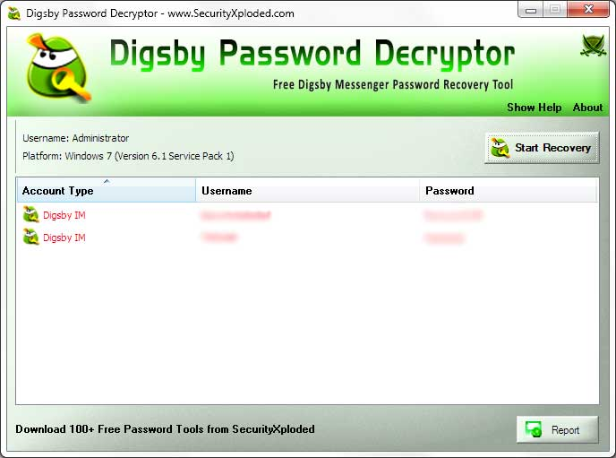 Password Decryptor for Digsby Screen shot