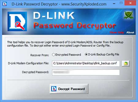 Password Decryptor for DLink