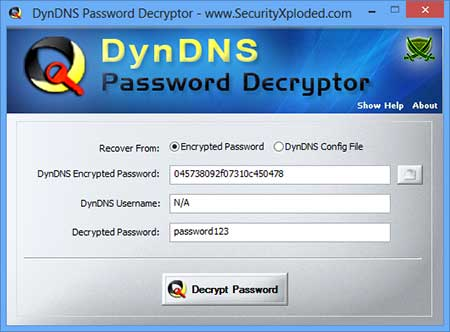 Password Decryptor for DynDNS