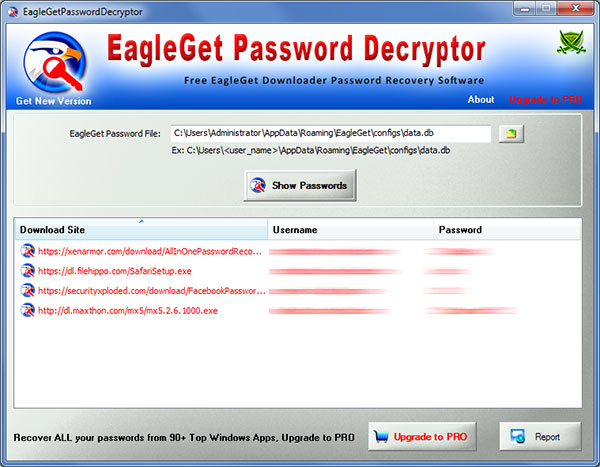 EagleGet Password Decryptor showing the saved login passwords