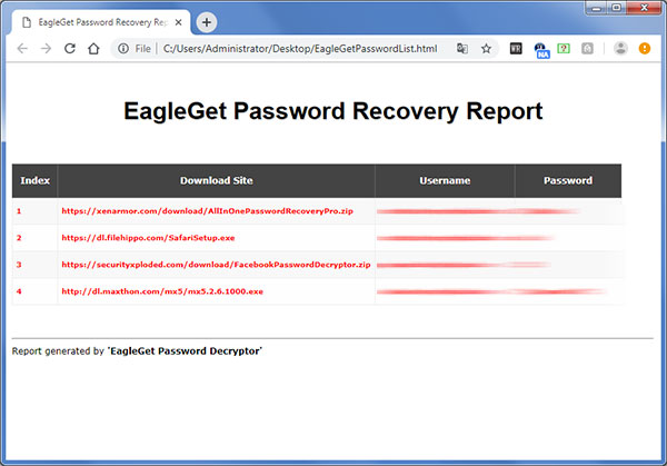 EagleGet Password Decryptor html reprot