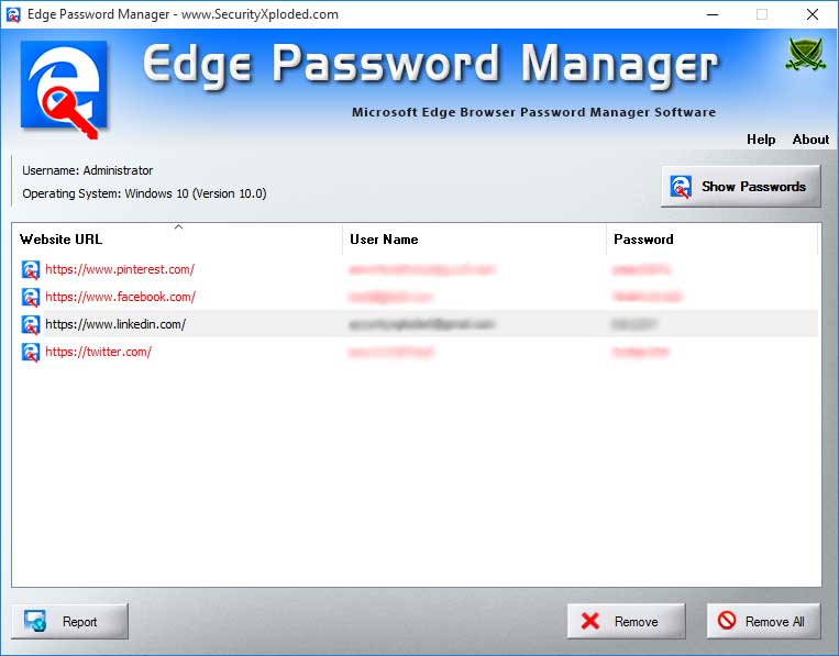 Password Manager for Microsoft Edge Screen shot