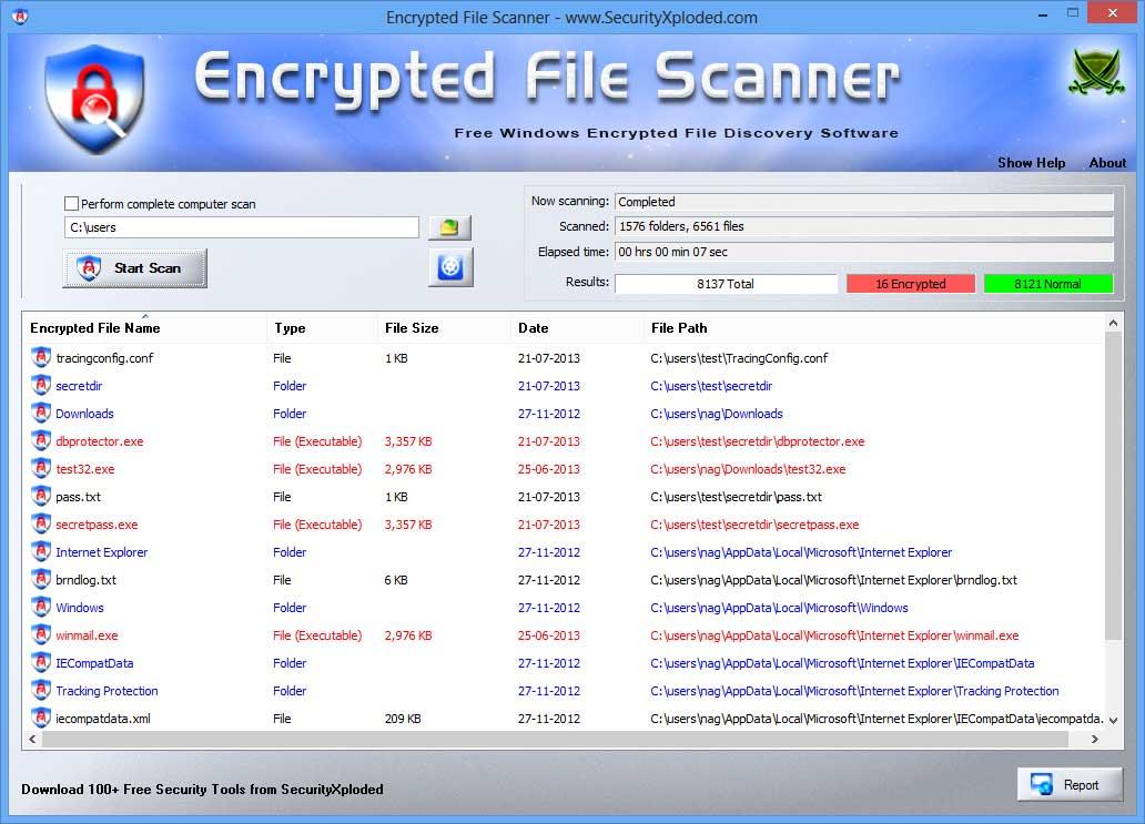 Encrypted File Scanner : Free Windows Encrypted File (EFS