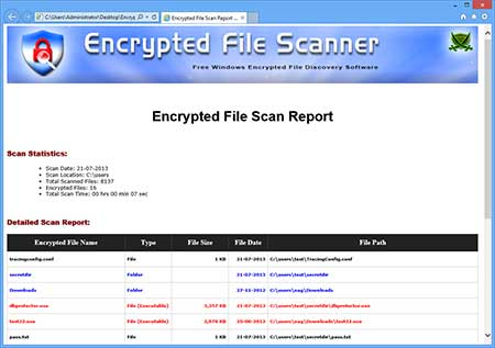 EncryptedFileScanner showing the exported scan list