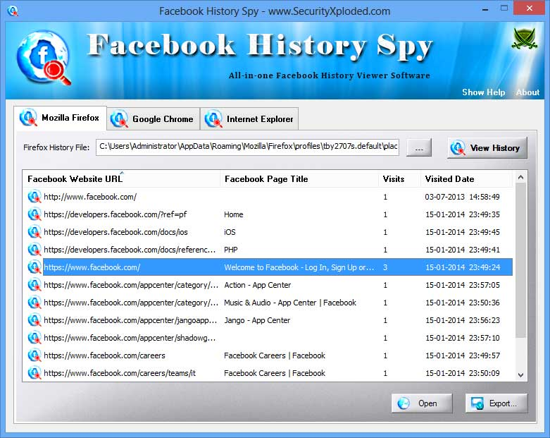 Click to view History Spy for Facebook screenshots