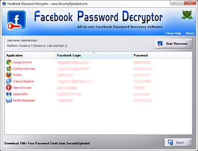 FacebookPasswordDecryptor showing recovered passwords