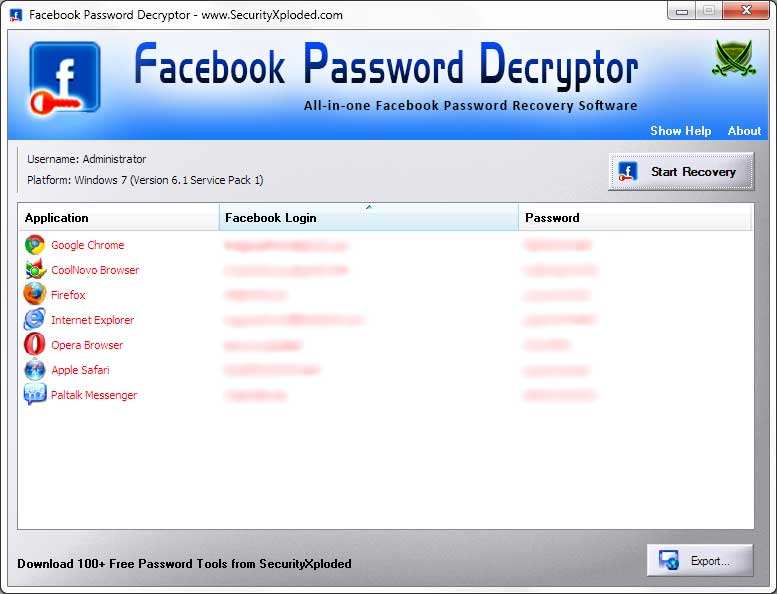 Password Decryptor for Facebook Screen shot