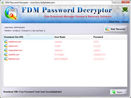 FDMPasswordDecryptor showing recovered passwords