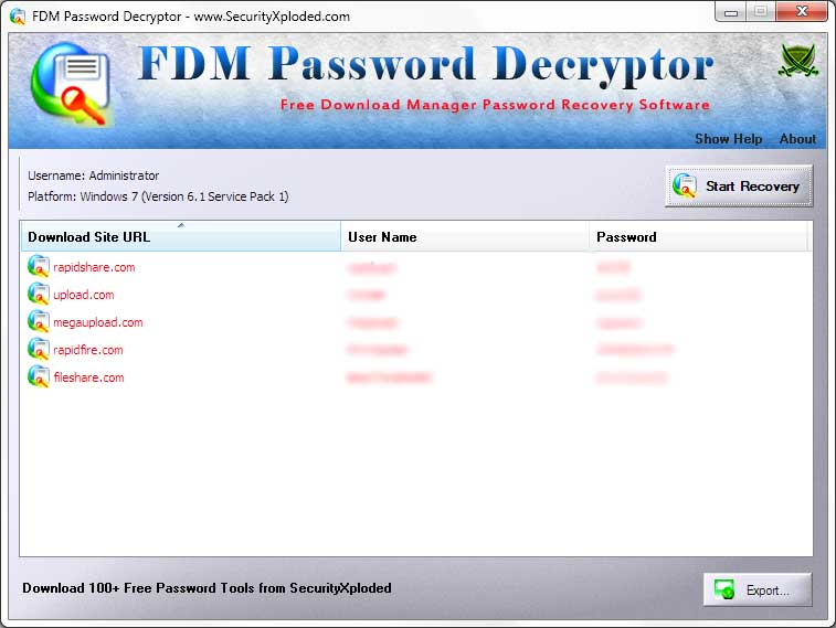 FDM Password Decryptor Screen shot
