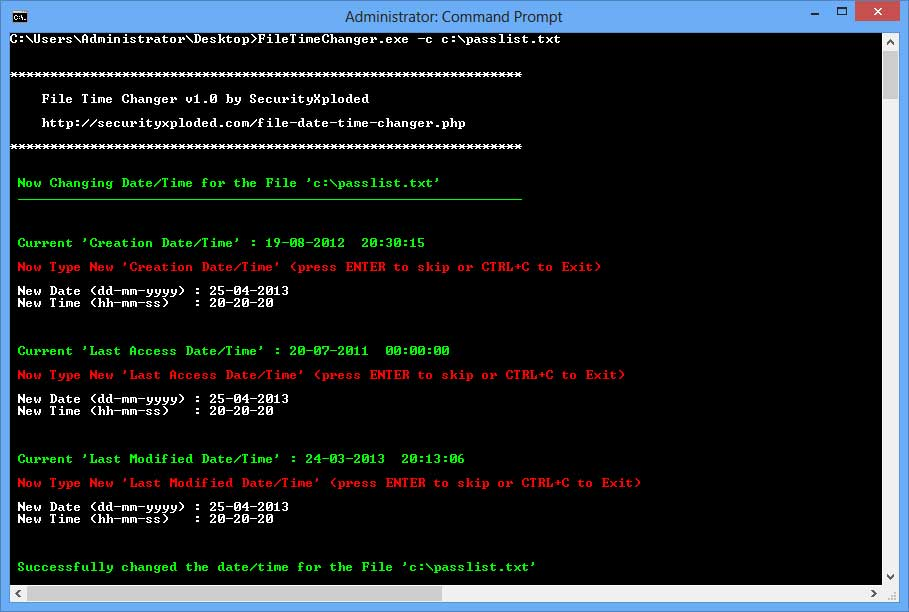 File Time Changer : Command-line Tool to Change File Date and Time