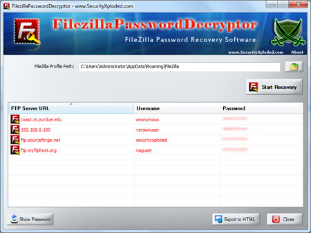FilezillaPasswordDecryptor showing recovered passwords