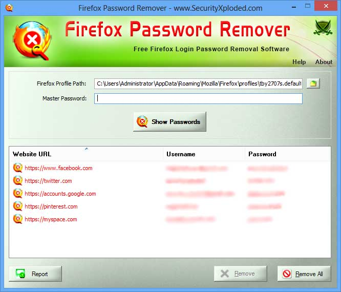 Password Remover for Firefox