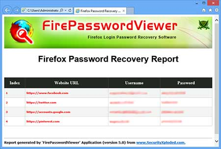 FirepasswordViewer showing the saved sign-on html file