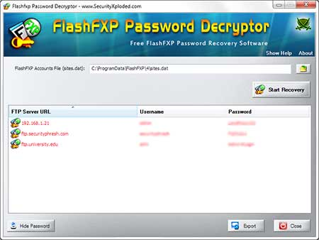 FlashFXP Password Decryptor showing recovered passwords