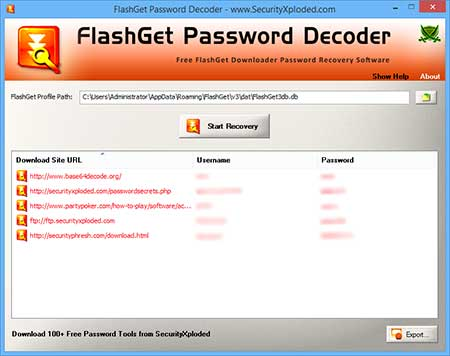 FlashGetPasswordDecoder showing recovered passwords