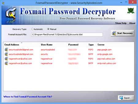 FoxmailPasswordDecryptor showing recovered passwords