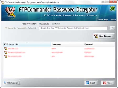 FTPCommanderPasswordDecryptor showing recovered passwords