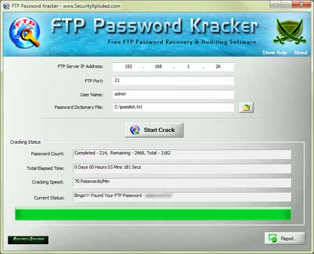 FTP Password Kracker full screenshot